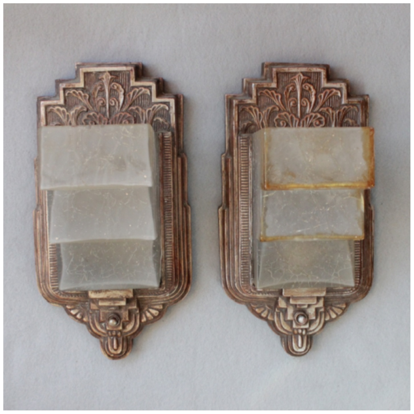 Diy155 Pair Art Deco Wall Sconces | Bogart, Bremmer & Bradley Antiques with Art Deco Wall Sconces (Image 9 of 20)