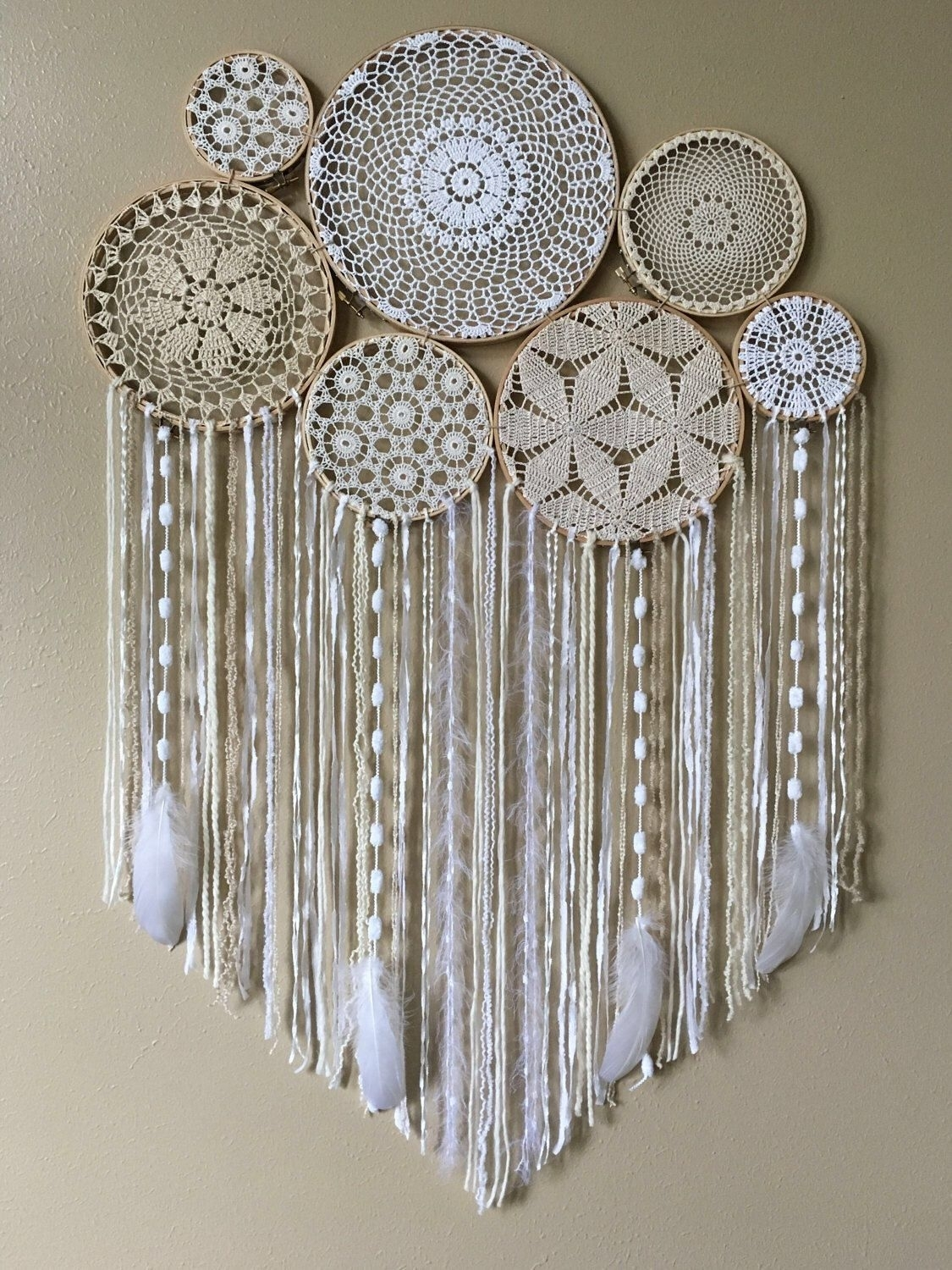 Dream Catcher Wall Hanging • Doily Dream Catcher • Boho Dreamcatcher regarding Crochet Wall Art (Image 11 of 20)