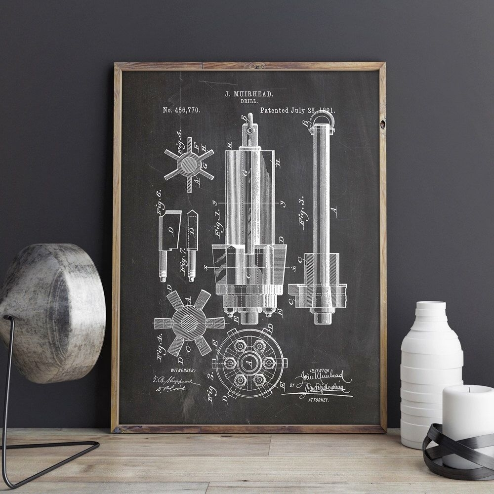 Drill Printable, Drill Print, Industrial Blueprint, Garage Patent pertaining to Manly Wall Art (Image 6 of 20)