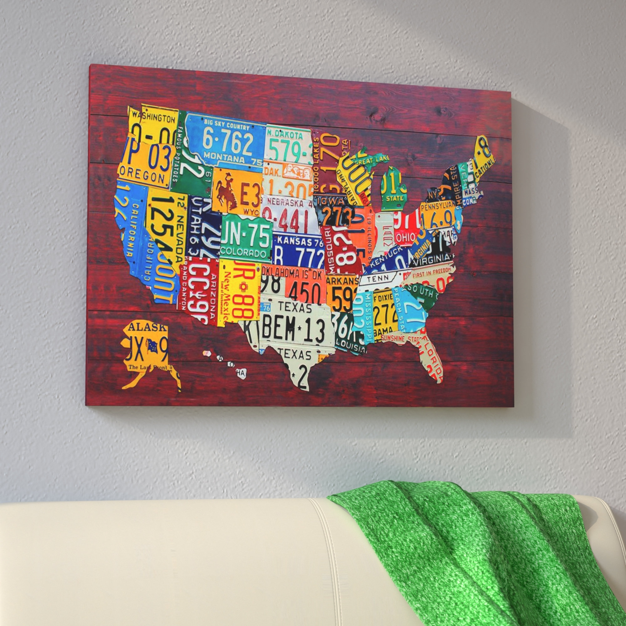 East Urban Home 'usa Recycled License Plate Map Vii'design With License Plate Map Wall Art (Photo 19 of 20)