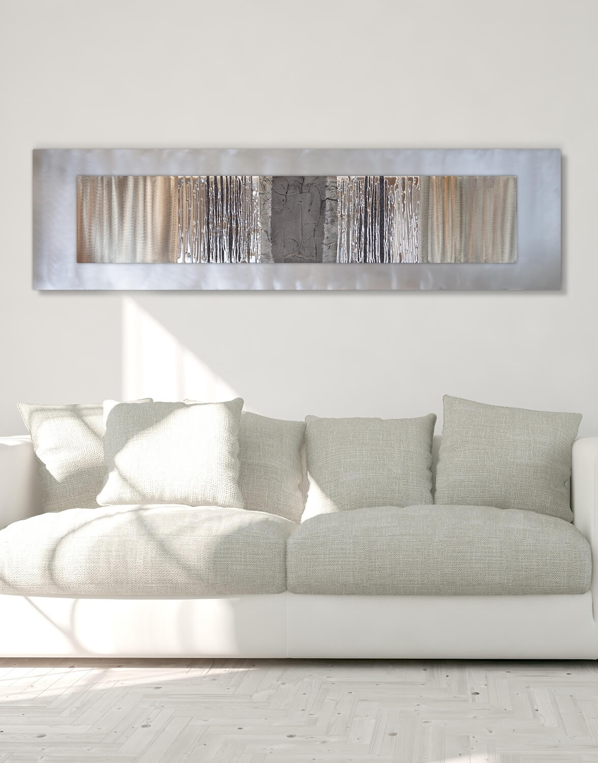 Echo Oak Grey   Silver Wall Art, Contemporary Art Uk Intended For Grey Wall Art (Photo 7 of 20)