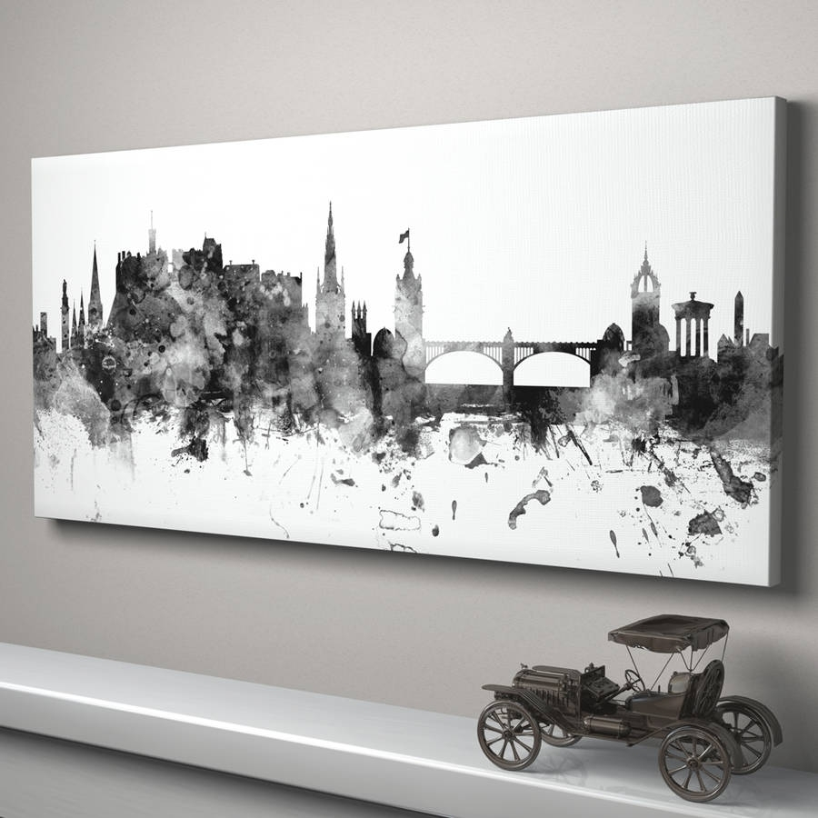 Edinburgh Skyline Cityscape Monochrome Art Printartpause Intended For Panoramic Wall Art (View 7 of 20)