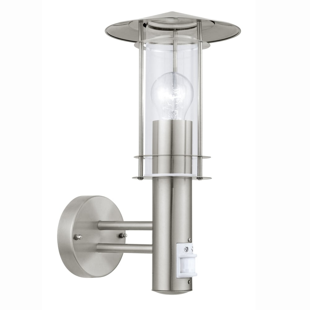 Eglo 30185 Lisio Pir Outdoor Ip44 Stainless Steel Wall Light Inside Outdoor Lanterns With Pir (Gallery 7 of 20)