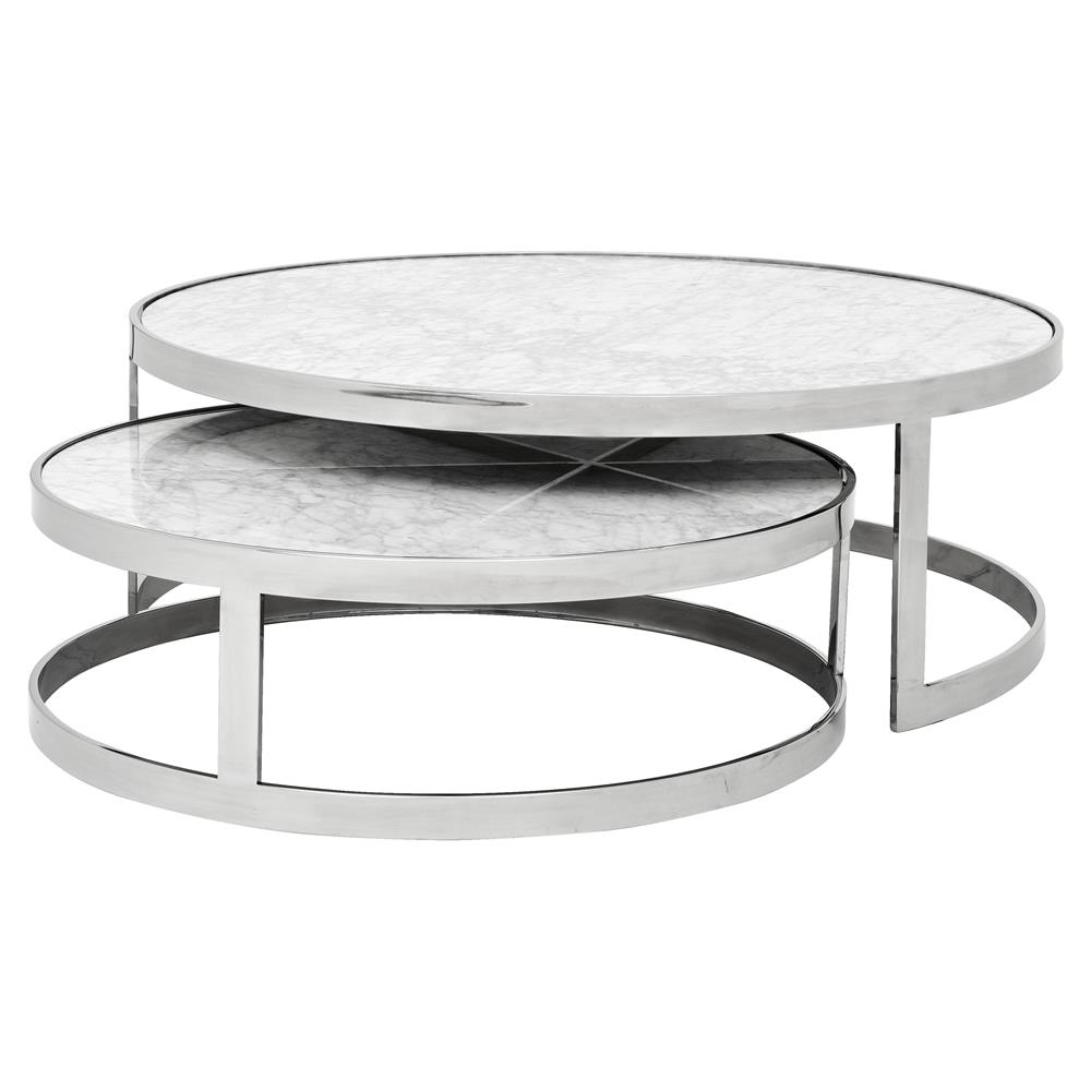 Eichholtz Fletcher Modern Classic White Marble Top Round Nesting with Smart Round Marble Top Coffee Tables (Image 12 of 30)