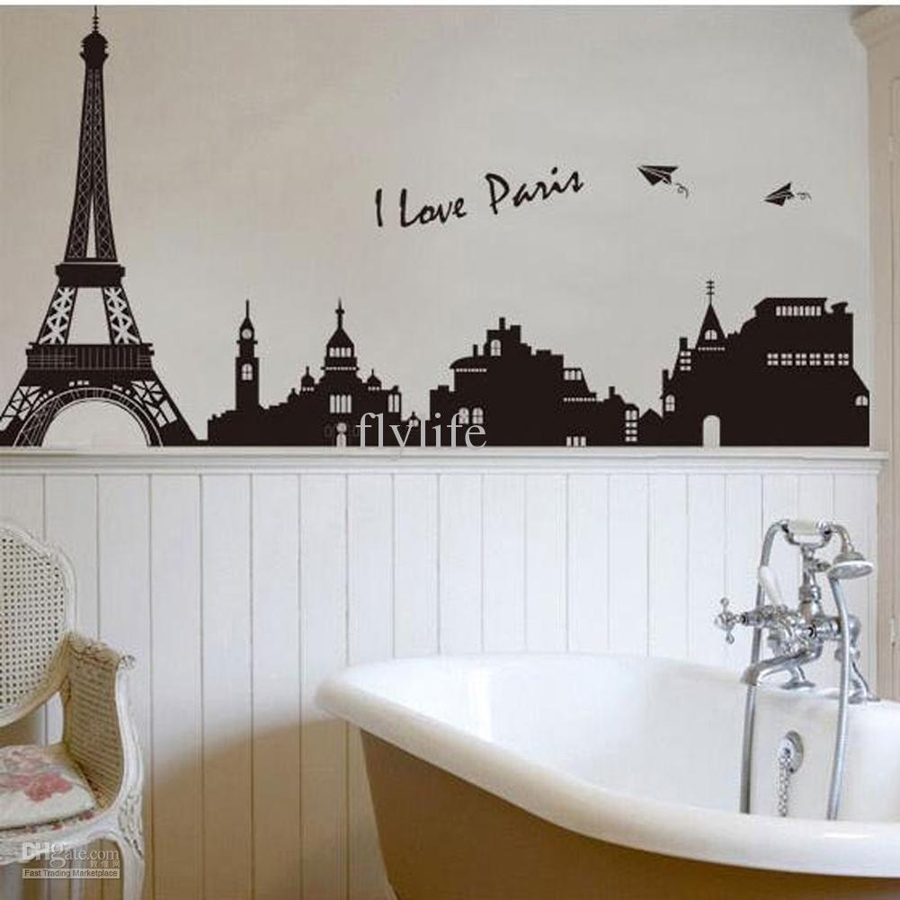 Eiffel Tower Building In Romantic Pairs, Large Black Art Wall Décor Throughout Eiffel Tower Wall Art (Photo 3 of 20)