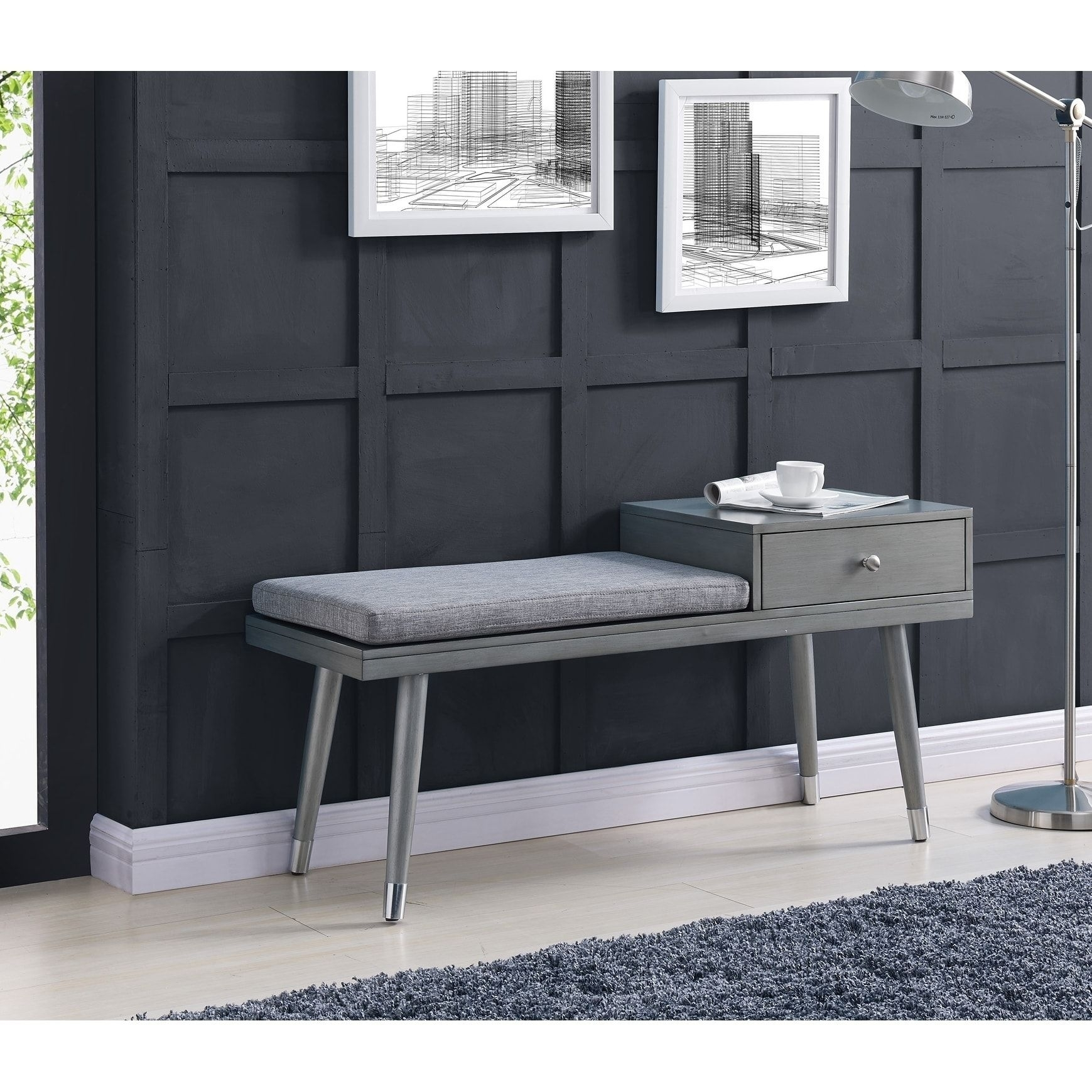 Elba Grey Wood, Fabric Bench With Drawer (Brown) | Elba, Bench And throughout Elba Ottoman-Coffee Tables (Image 16 of 30)