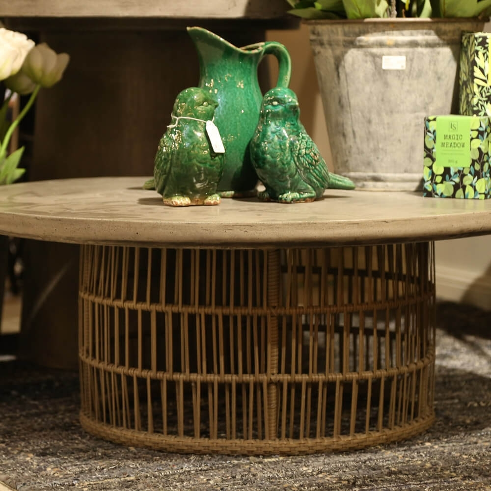 Elba Round Coffee Table - Fiber Reinforced Cement/concrete, Metal with Elba Ottoman-Coffee Tables (Image 17 of 30)