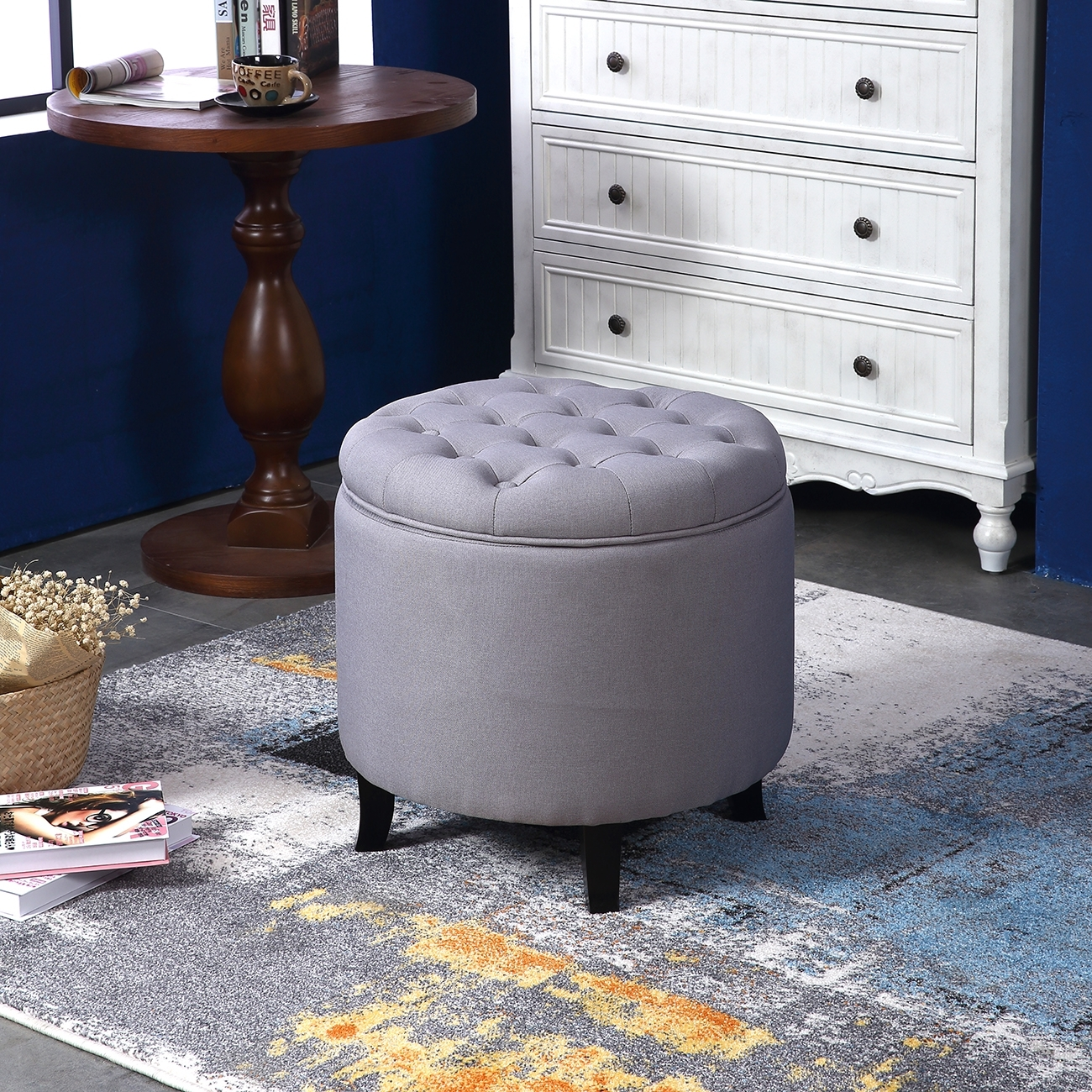 Elegant Fabric Tufted Button Ottoman Round Footstool Coffee Table throughout Round Button Tufted Coffee Tables (Image 9 of 30)