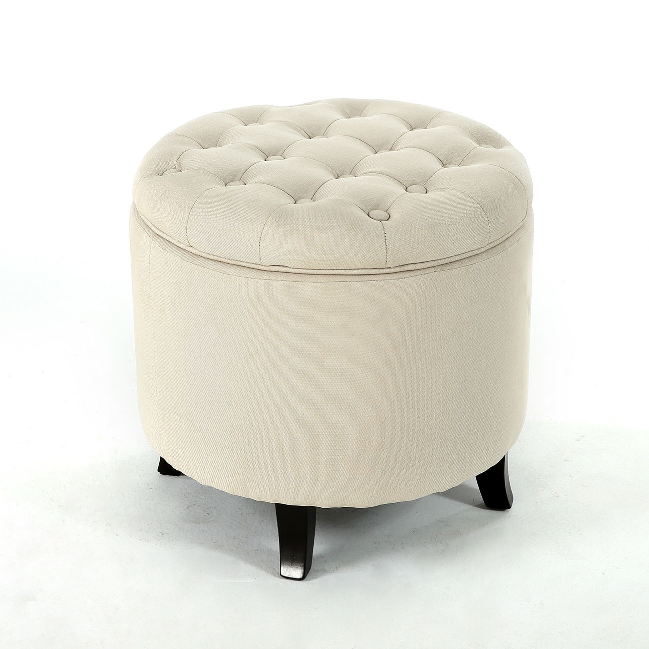 Elegant Fabric Tufted Button Ottoman Round Footstool Coffee Table With Regard To Round Button Tufted Coffee Tables (Photo 22 of 30)