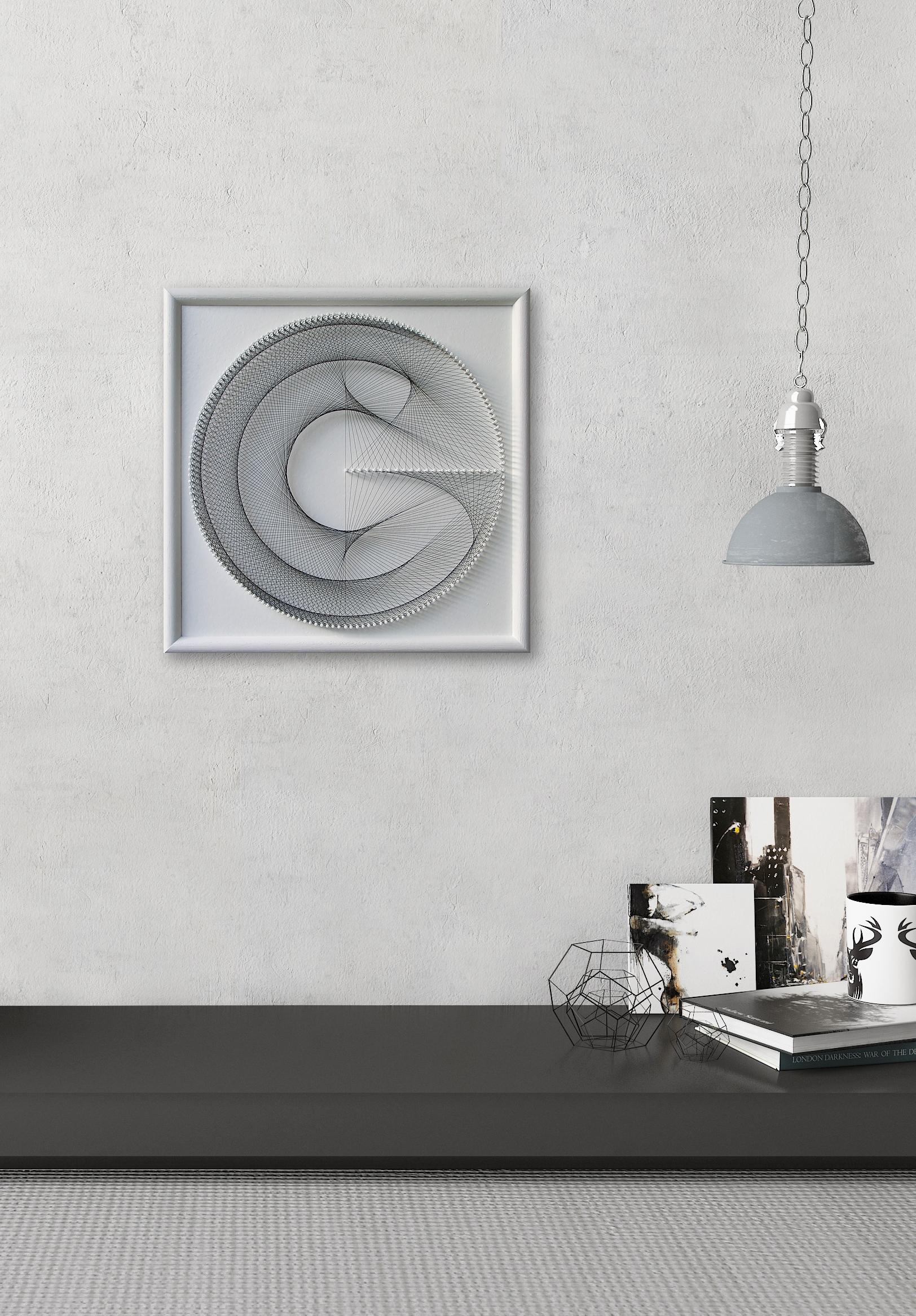 Elegant Geometric String Art – Gift For Her – White Wall Art Zen With White Wall Art (Photo 11 of 20)