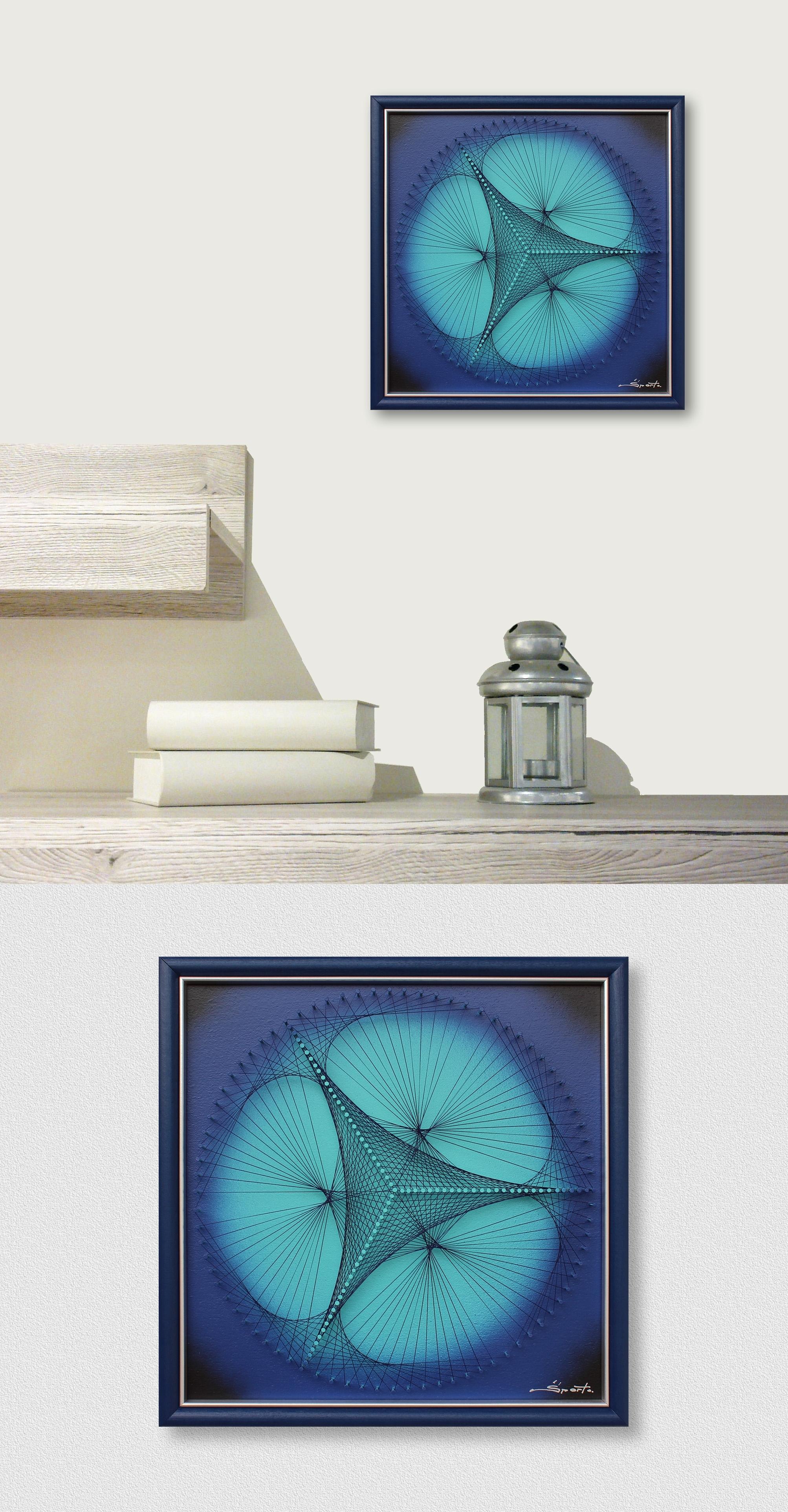 Elegant Geometric Triangle In Ocean Blue – Zen Wall Art – Fine Inside Turquoise Wall Art (Photo 15 of 20)