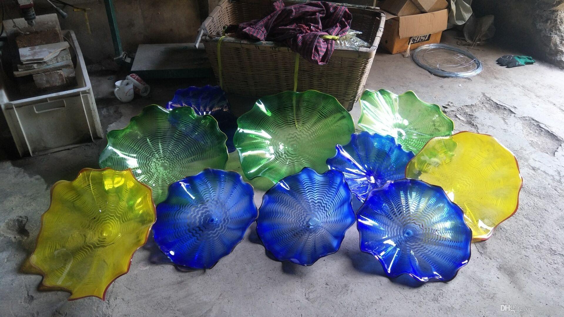 Elegant Hand Blown Glass Plates Wall Art Murano Flower Glass Hanging With Glass Plate Wall Art (Photo 13 of 20)