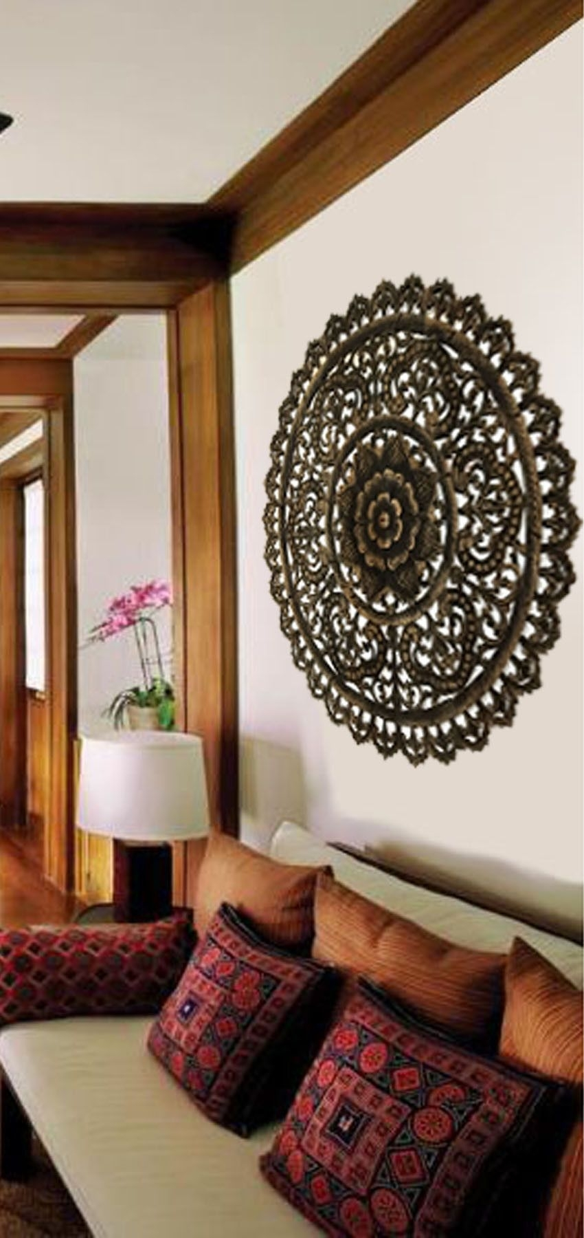 Elegant Medallion Wood Carved Wall Plaque. Large Round Wood Carving With Regard To Wood Medallion Wall Art (Photo 8 of 20)