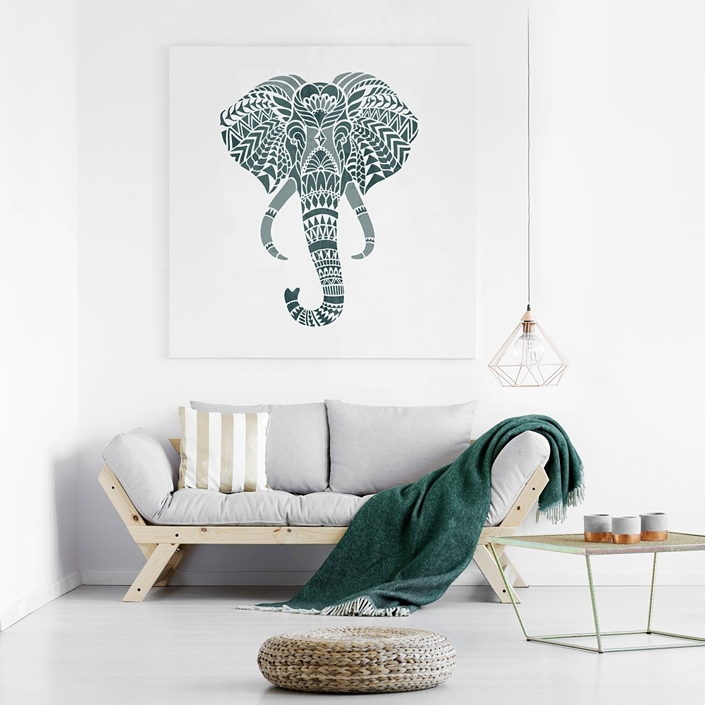 Elephant Head Stencil   Designer Stencils For Walls, Floors And With Stencil Wall Art (Photo 10 of 20)