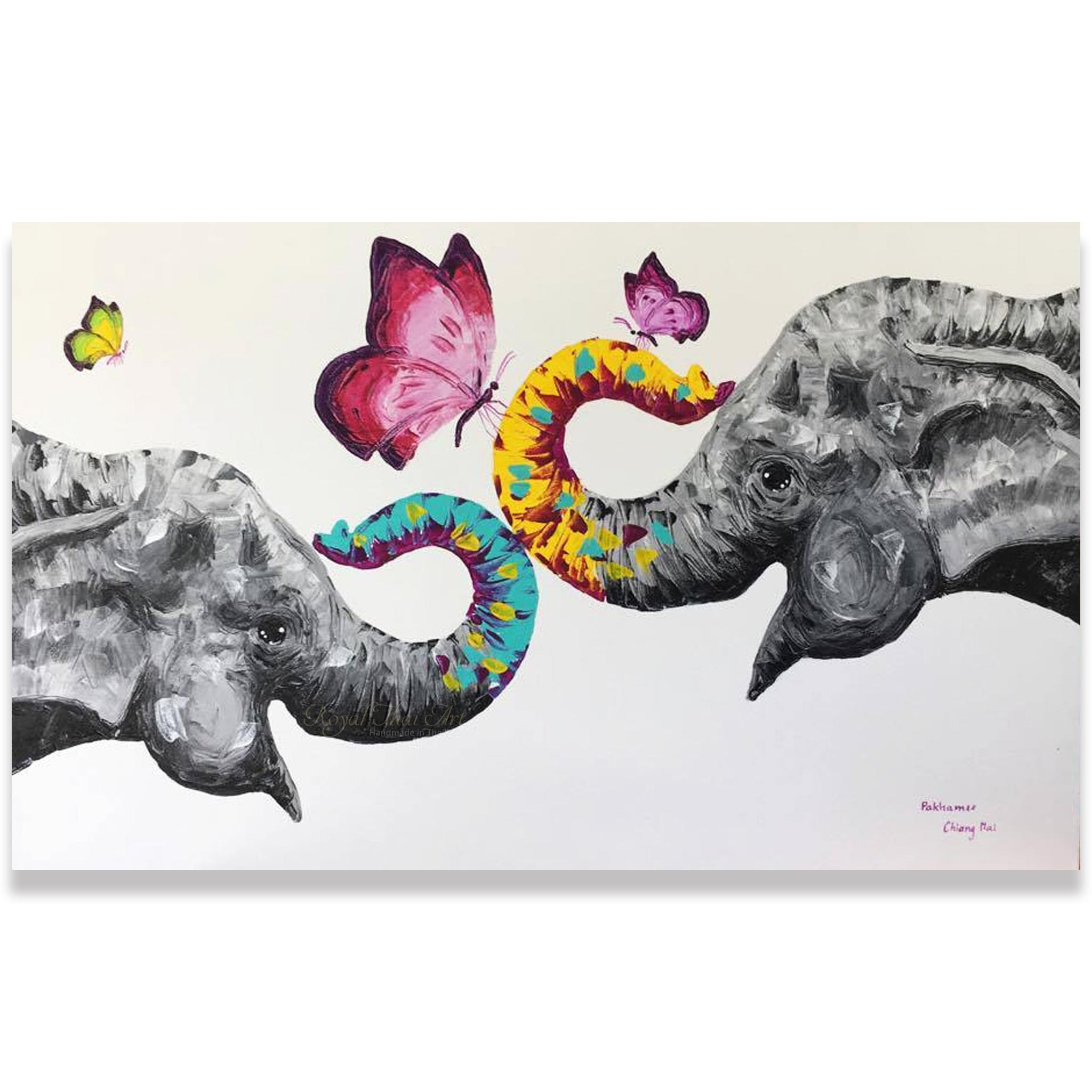 Elephant Oil Painting I Affordable Luxury Artworkroyal Thai Art With Regard To Elephant Canvas Wall Art (Photo 14 of 20)