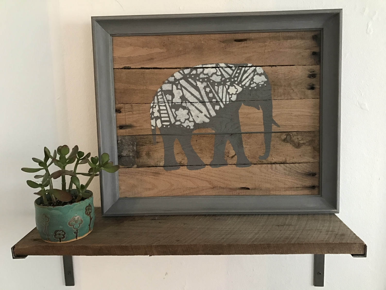 Elephant Pallet Wall Hanging. Rustic Pallet Wall Art. Re Purposed Inside Pallet Wall Art (Photo 5 of 20)