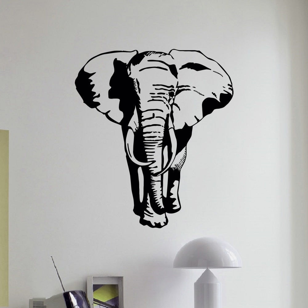 Elephant Wall Decal African Animal Wild Elephant Pvc Wall Art In Elephant Wall Art (Photo 4 of 20)
