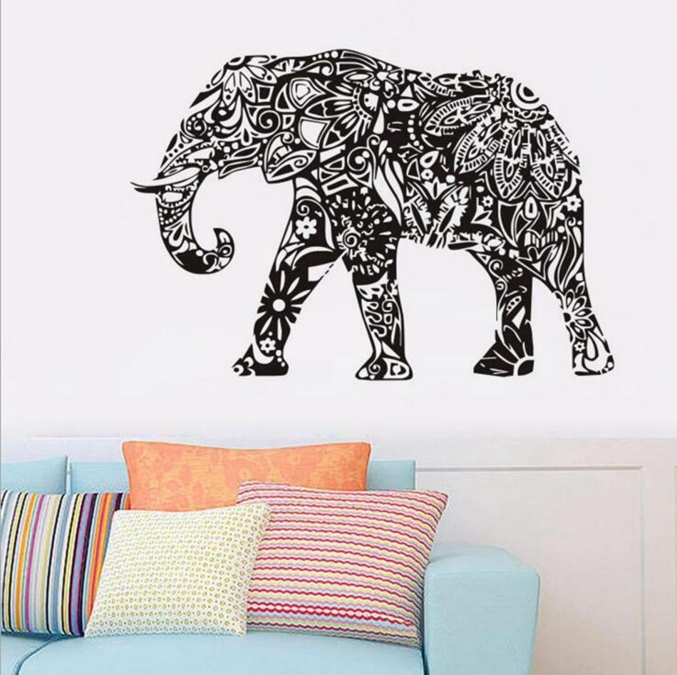 Elephant Wall Stickers Removable Black Pvc Wall Decal Home Decor Throughout Elephant Wall Art (Photo 14 of 20)