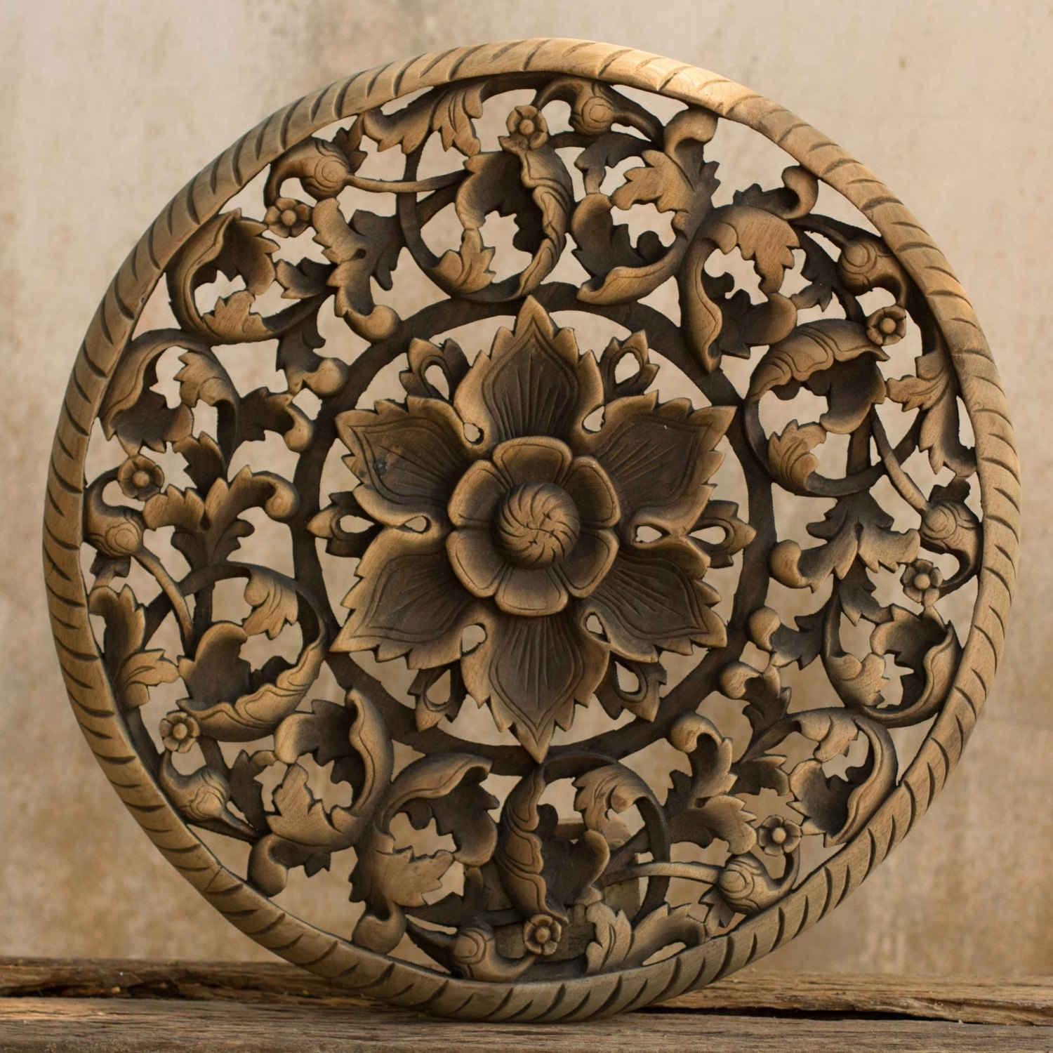 Elephant Wooden Wall Hanging.elephant Head Wall Hanging Mount Wall Regarding Round Wood Wall Art (Photo 5 of 20)