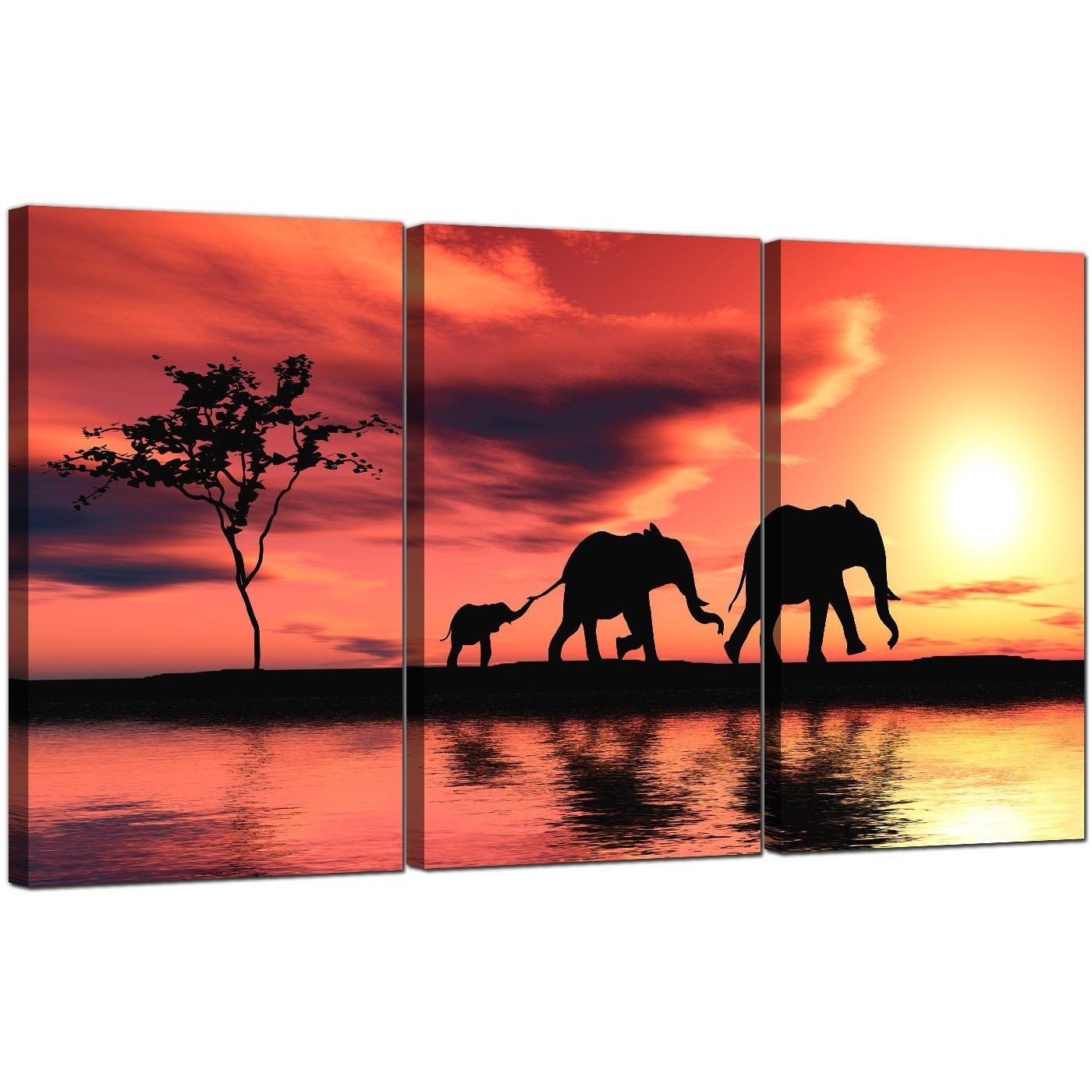 Elephants Canvas Prints Set Of 3 For Your Living Room Inside Elephant Canvas Wall Art (Photo 1 of 20)