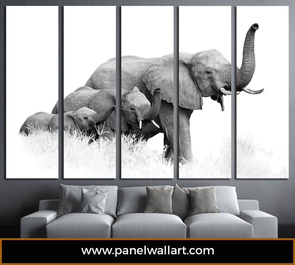 Elephants Multi Panel Canvas Prints | Modern | Panelwallart In Elephant Canvas Wall Art (Photo 13 of 20)