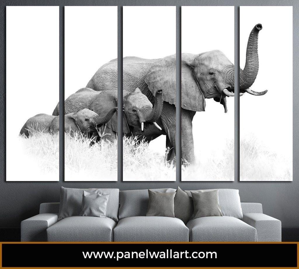 Elephants Multi Panel Canvas Prints | Modern | Panelwallart in Elephant Canvas Wall Art (Image 15 of 20)