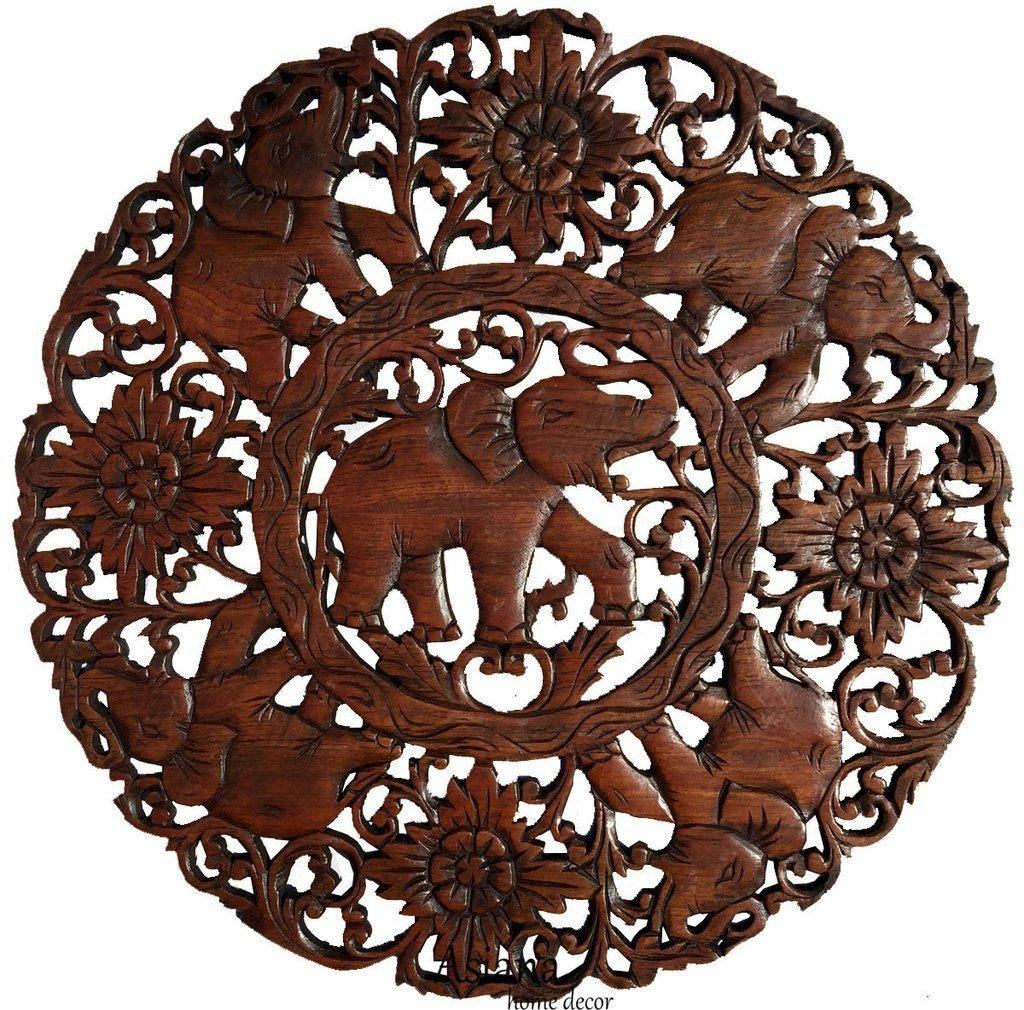 Elephants Round Carved Wood Wall Decor Living Room Relief Plaque Within Round Wood Wall Art (Photo 16 of 20)
