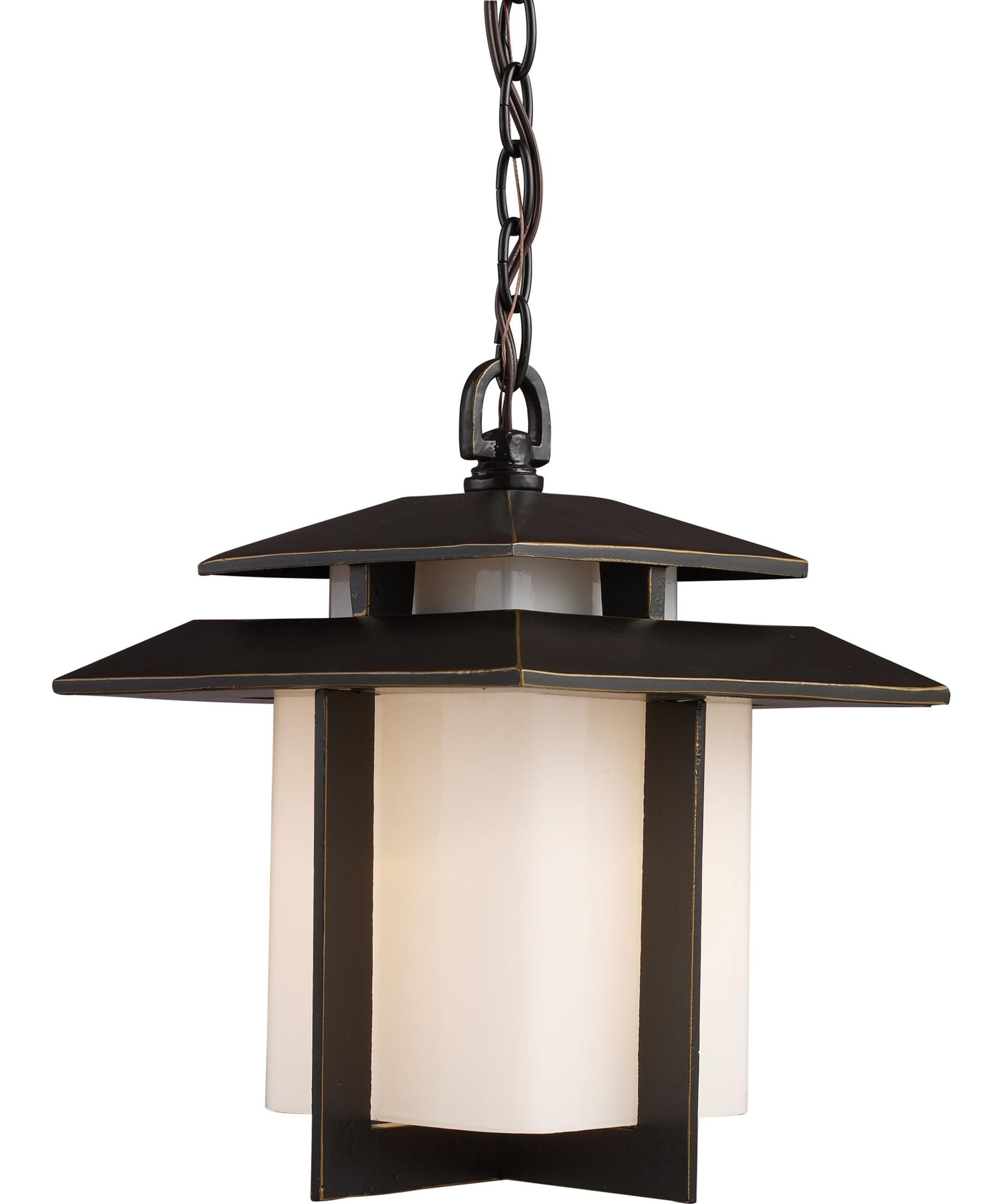 Elk Lighting 42172 1 Kanso 10 Inch Wide 1 Light Outdoor Hanging Pertaining To Outdoor Hanging Japanese Lanterns (View 7 of 20)