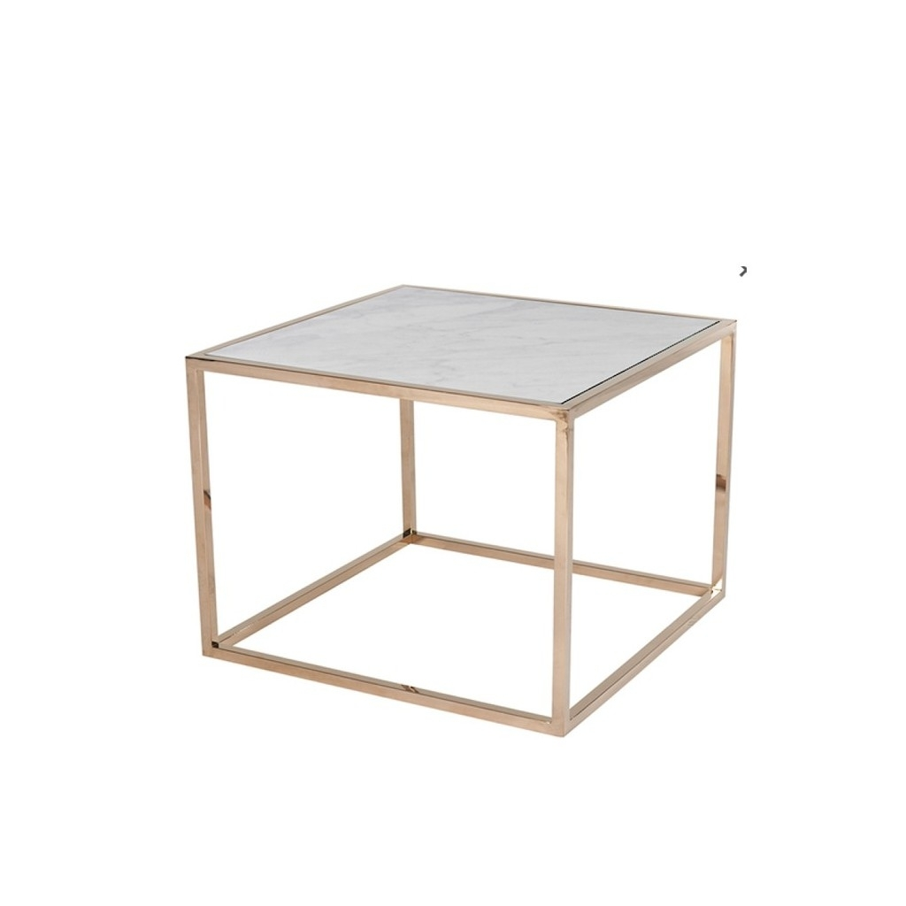 Elle Cube Side Table White Marble & Rose Brass | Tables | Bedside with Brass Iron Cube Tables (Image 14 of 30)