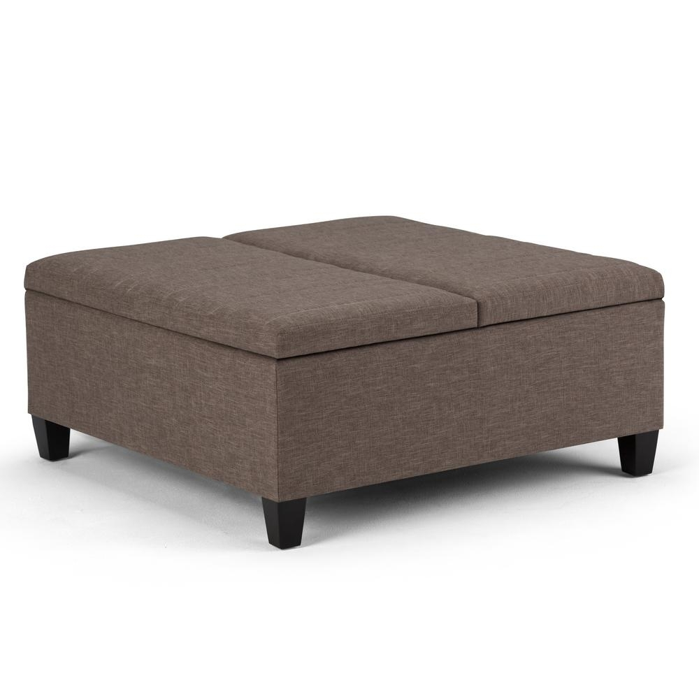 Ellis Fawn Brown Linen Look Fabric Storage Ottoman | Pinterest Inside Elba Ottoman Coffee Tables (Photo 18 of 30)