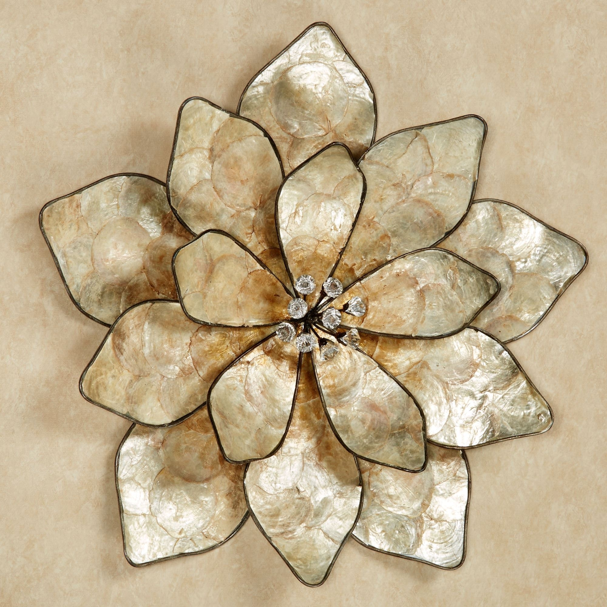 Eloquence Bloom Capiz Shell Flower Wall Art Intended For Flower Wall Art (Photo 18 of 20)