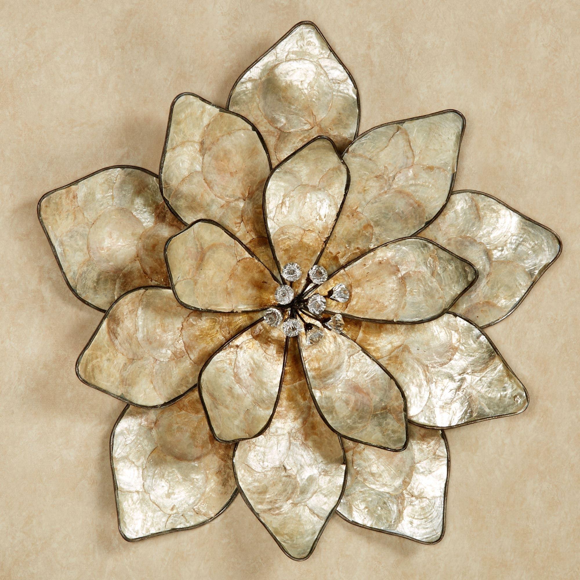 Eloquence Bloom Capiz Shell Flower Wall Art Intended For Flower Wall Art (Photo 18 of 20)