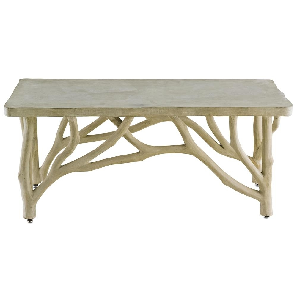 Elowen Rustic Lodge Concrete Birch Coffee Table | Kathy Kuo Home pertaining to Faux Bois Coffee Tables (Image 15 of 30)