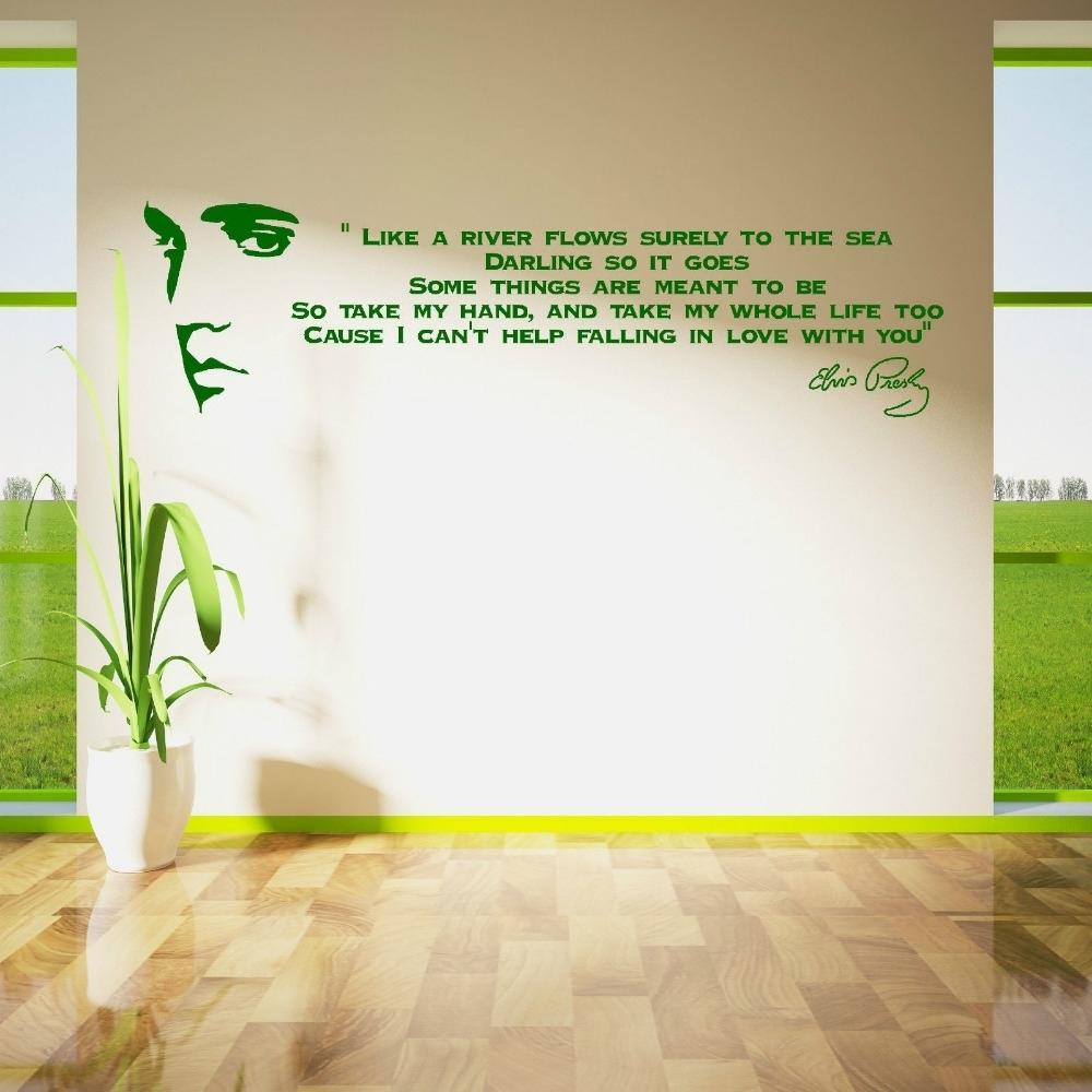 Elvis Presley Song Lyrics Like A River Vinyl Wall Art Sticker Room inside Song Lyric Wall Art (Image 6 of 20)