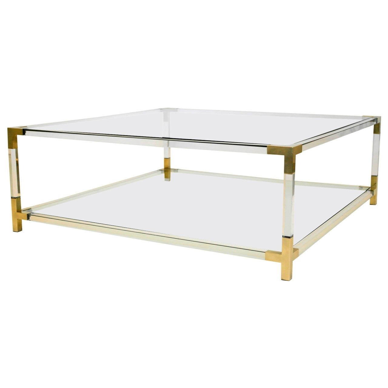 Endearing Design Of Lucite Coffee Table With Rectangle Shape Coffee Pertaining To Acrylic Glass And Brass Coffee Tables (Photo 10 of 30)