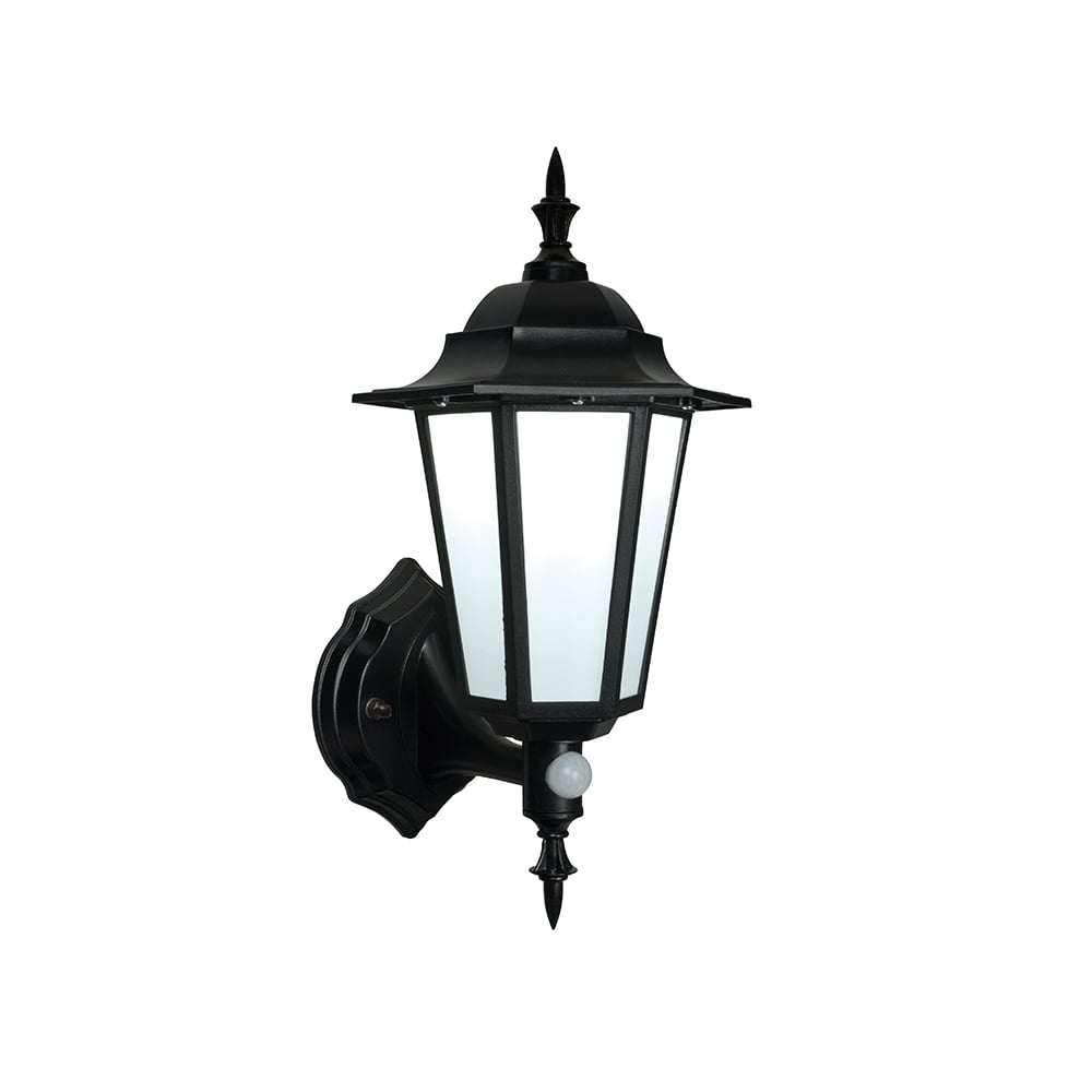 Endon Evesham Black Outdoor Led Wall Light With Sensor with regard to Outdoor Lanterns With Pir (Image 7 of 20)