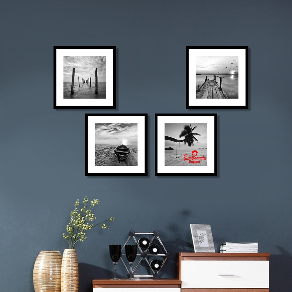 Englant  Seascape Canvas Print Black And White Wall Art 4 Piece For 4 Piece Wall Art (Photo 12 of 20)
