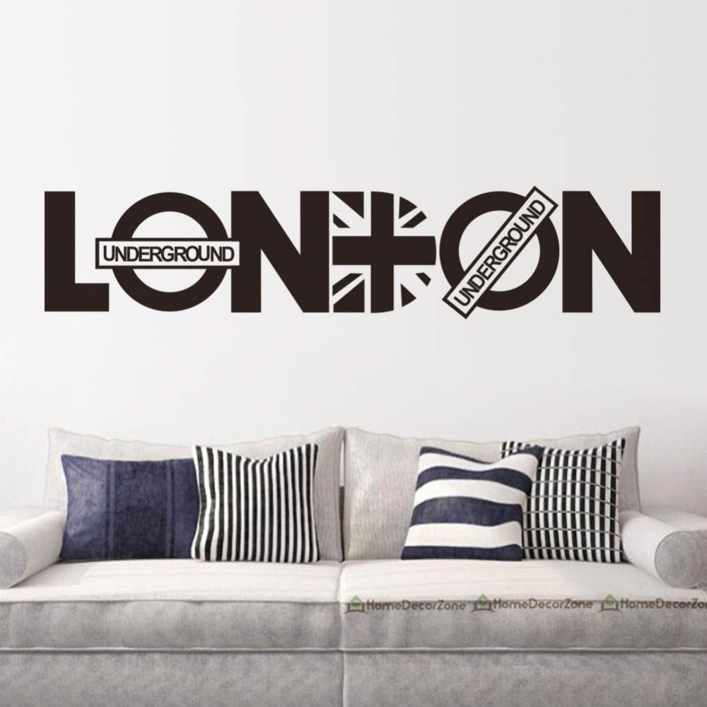 English Letter London Wall Art Decal Sticker London Wall Quote Decor Regarding London Wall Art (Photo 18 of 20)