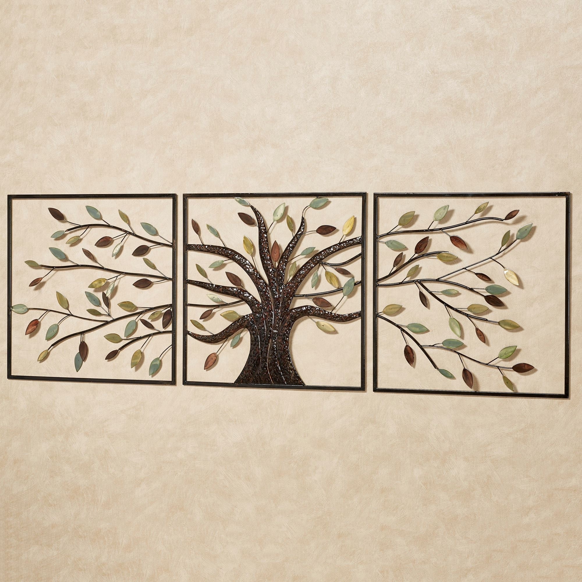 Ever Changing Brown Tree Metal Wall Art Set, Tin Wall Art   Swinki Intended For Tin Wall Art (Photo 12 of 20)