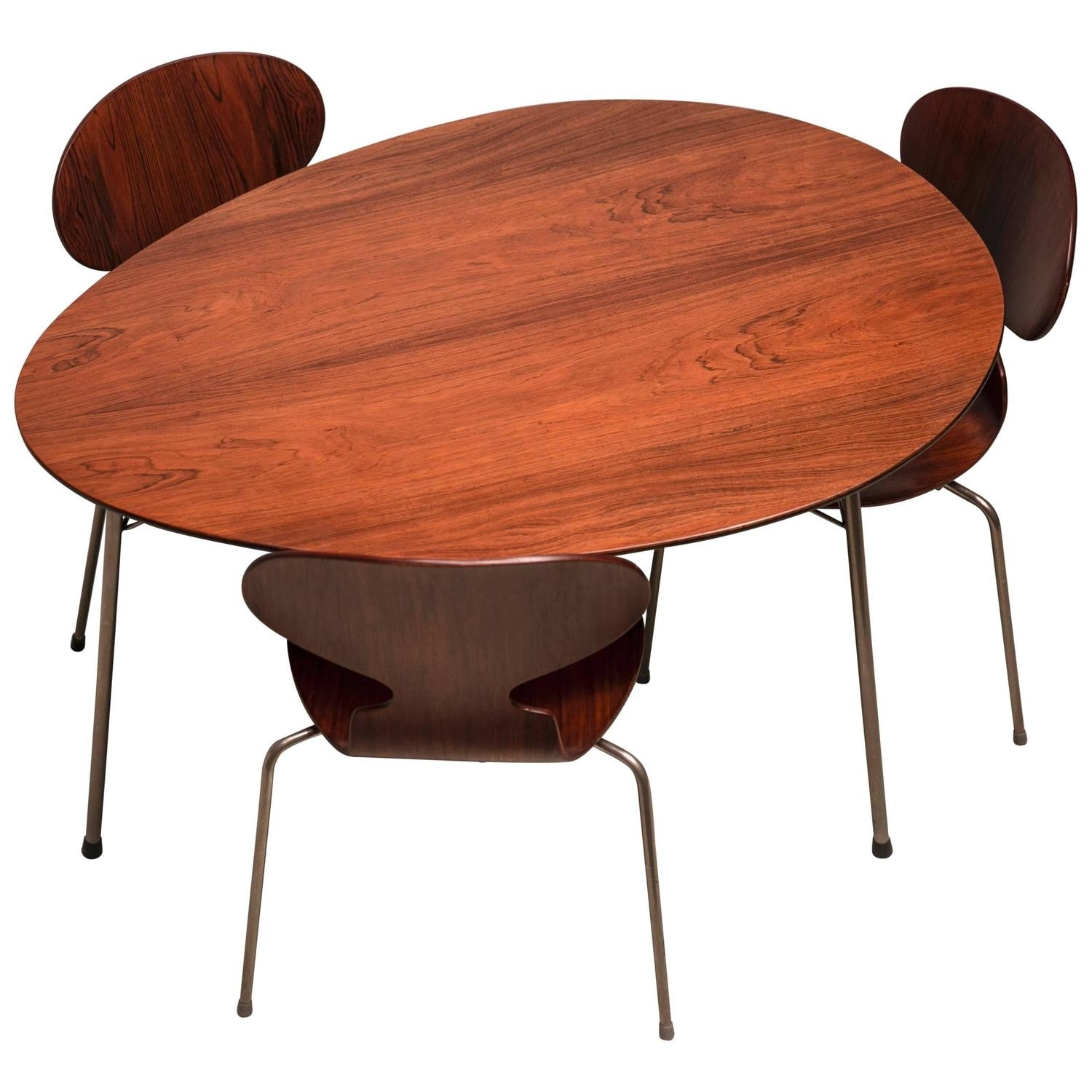 Exceptional Early Brazilian Rosewood Egg Table And Ant Chairs Throughout Mid Century Modern Egg Tables (Photo 7 of 30)