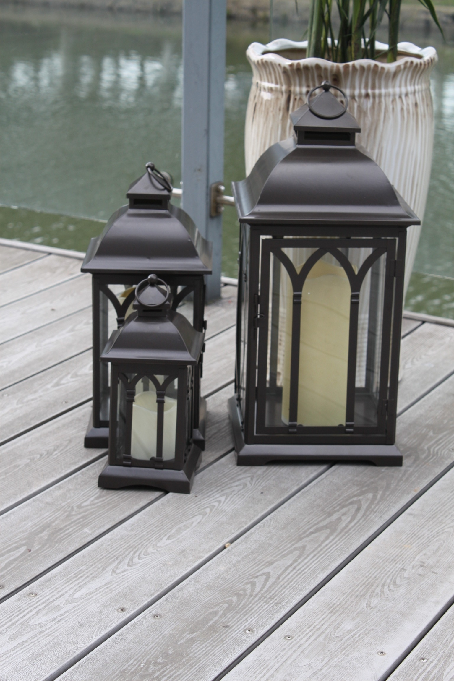 Exclusive Indoor Or Outdoor Set Of 3 Lombard Patio Lanterns Throughout Set Of 3 Outdoor Lanterns (Photo 17 of 20)