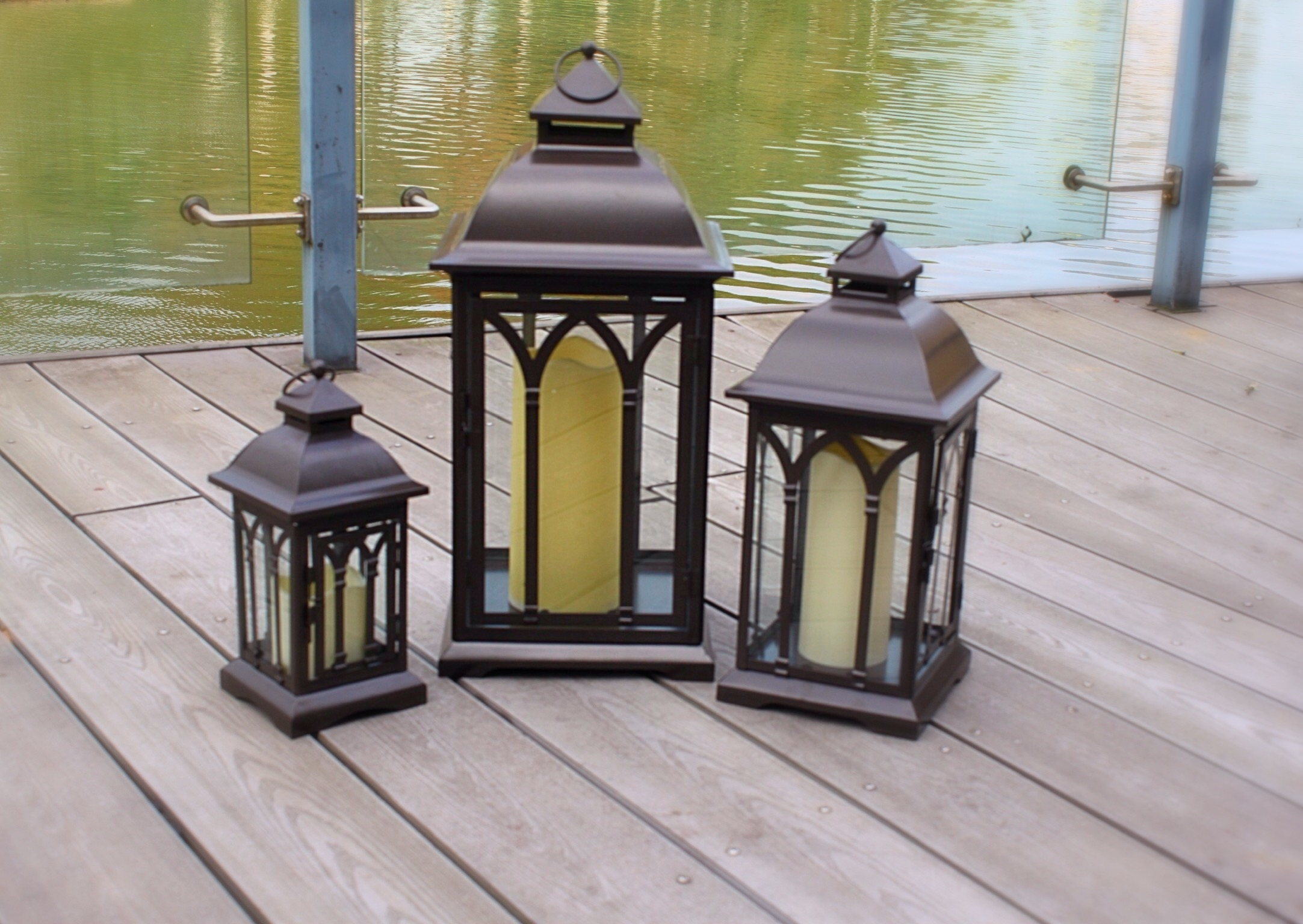 Exclusive Indoor Or Outdoor Set Of 3 Lombard Patio Lanterns With Metal Outdoor Lanterns (Photo 11 of 20)