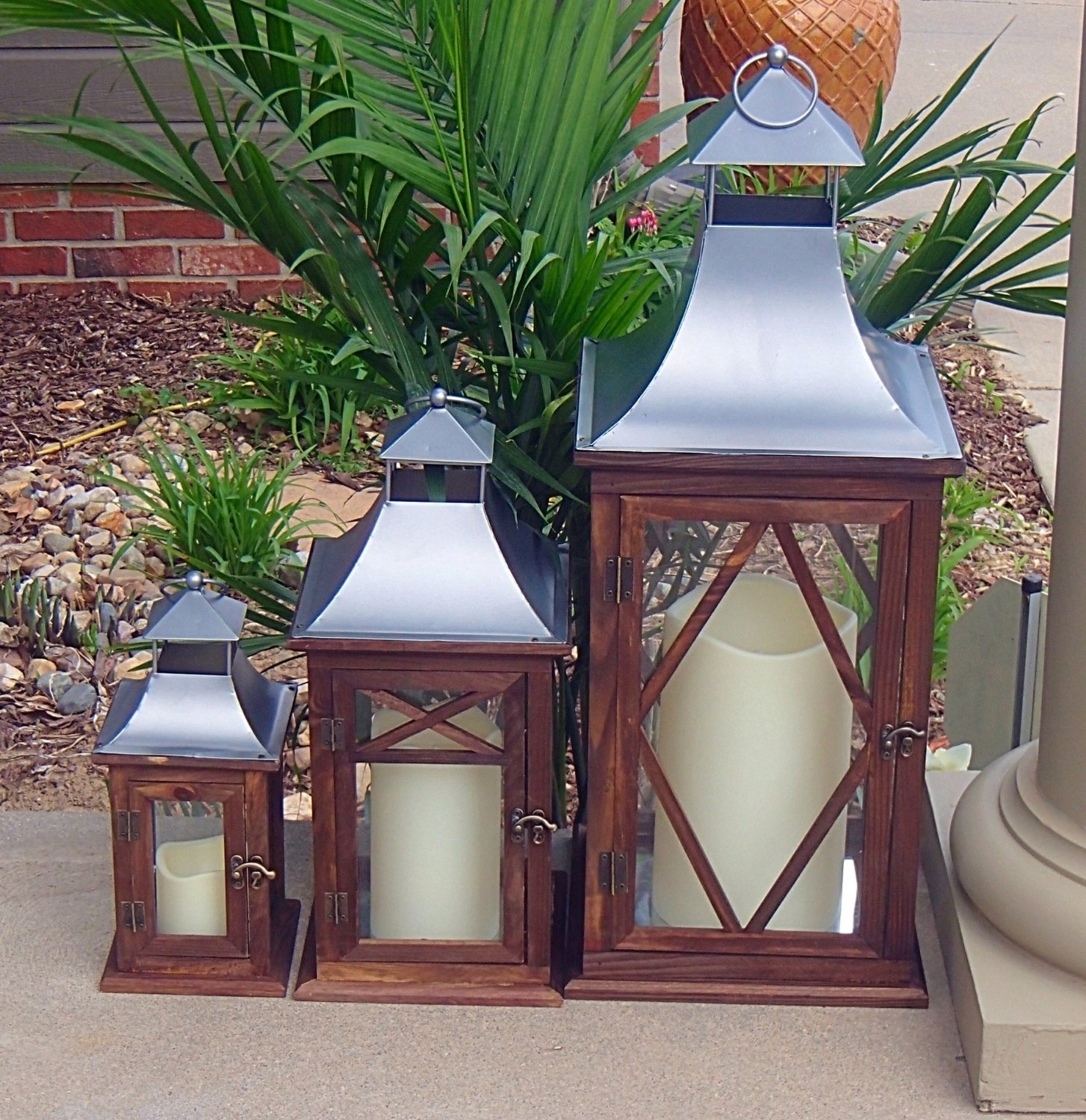 Exclusive Indoor Or Outdoor Set Of 3 Lombard Patio Lanterns With Regard To Set Of 3 Outdoor Lanterns (View 7 of 20)