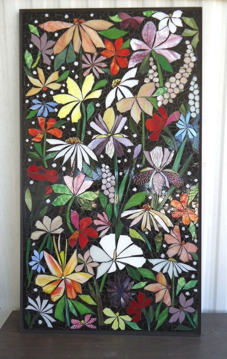 Exterior Mosaic Wall Art Stained Glass Wall Decor Floral Garden Regarding Stained Glass Wall Art (View 9 of 20)