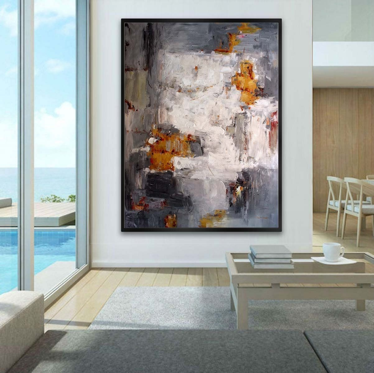 Extra Large Abstract Huge Handmade Palette Knife Painting Super Pertaining To Large Contemporary Wall Art (View 13 of 20)