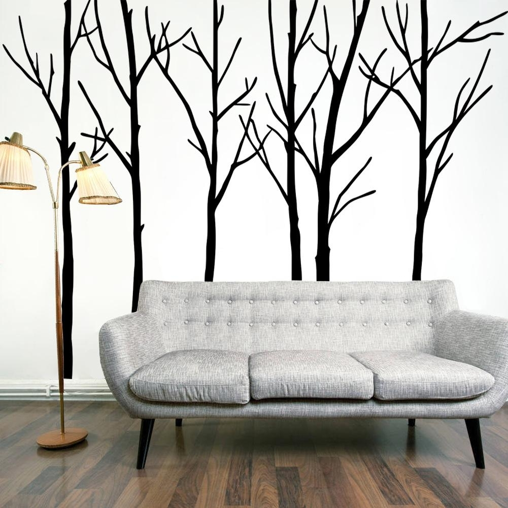 Extra Large Black Tree Branches Wall Art Mural Decor Sticker throughout Tree Wall Art (Image 3 of 20)