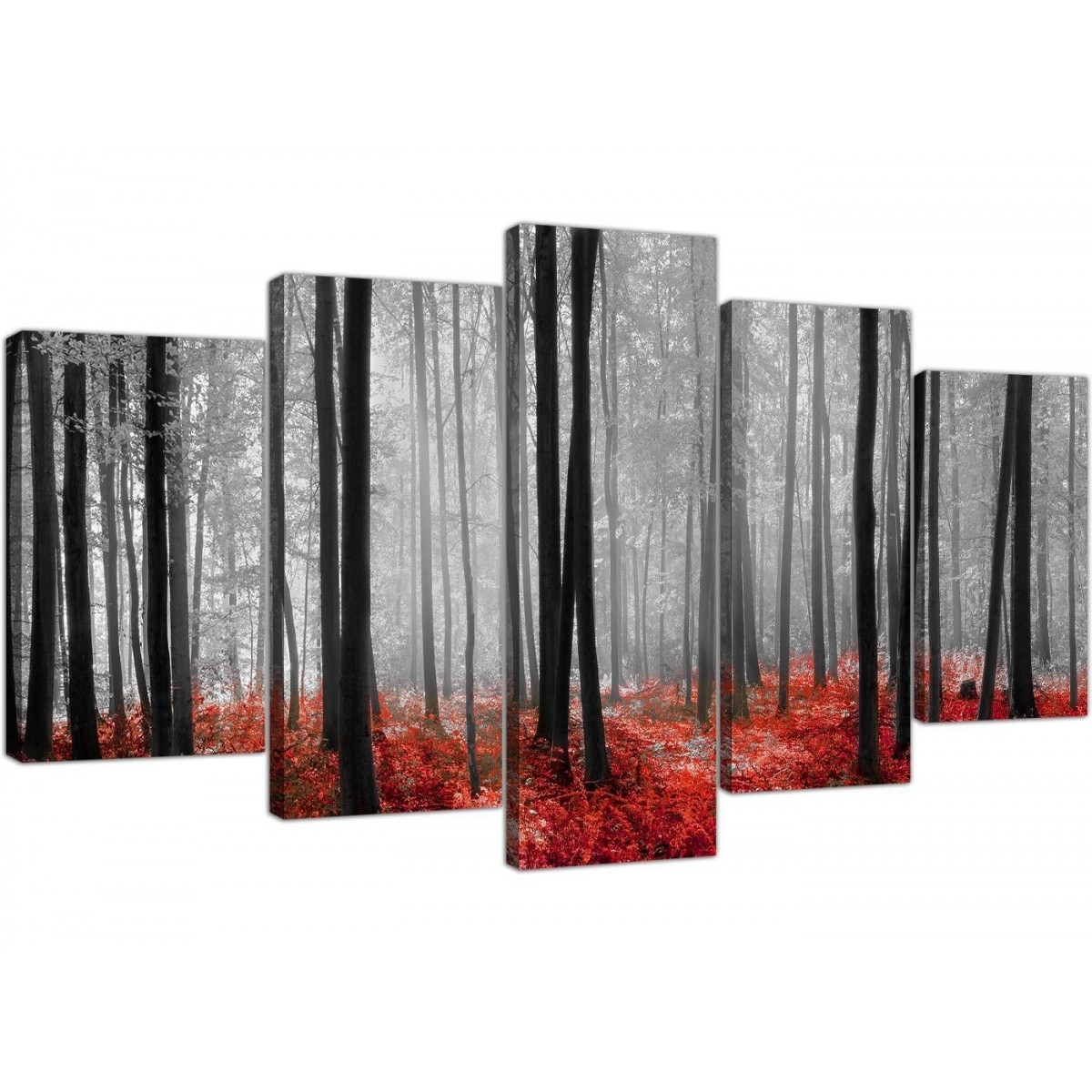 Extra Large Canvas Prints Of Red Forest Woodland Trees In Black & White For Red And Black Canvas Wall Art (Photo 10 of 20)