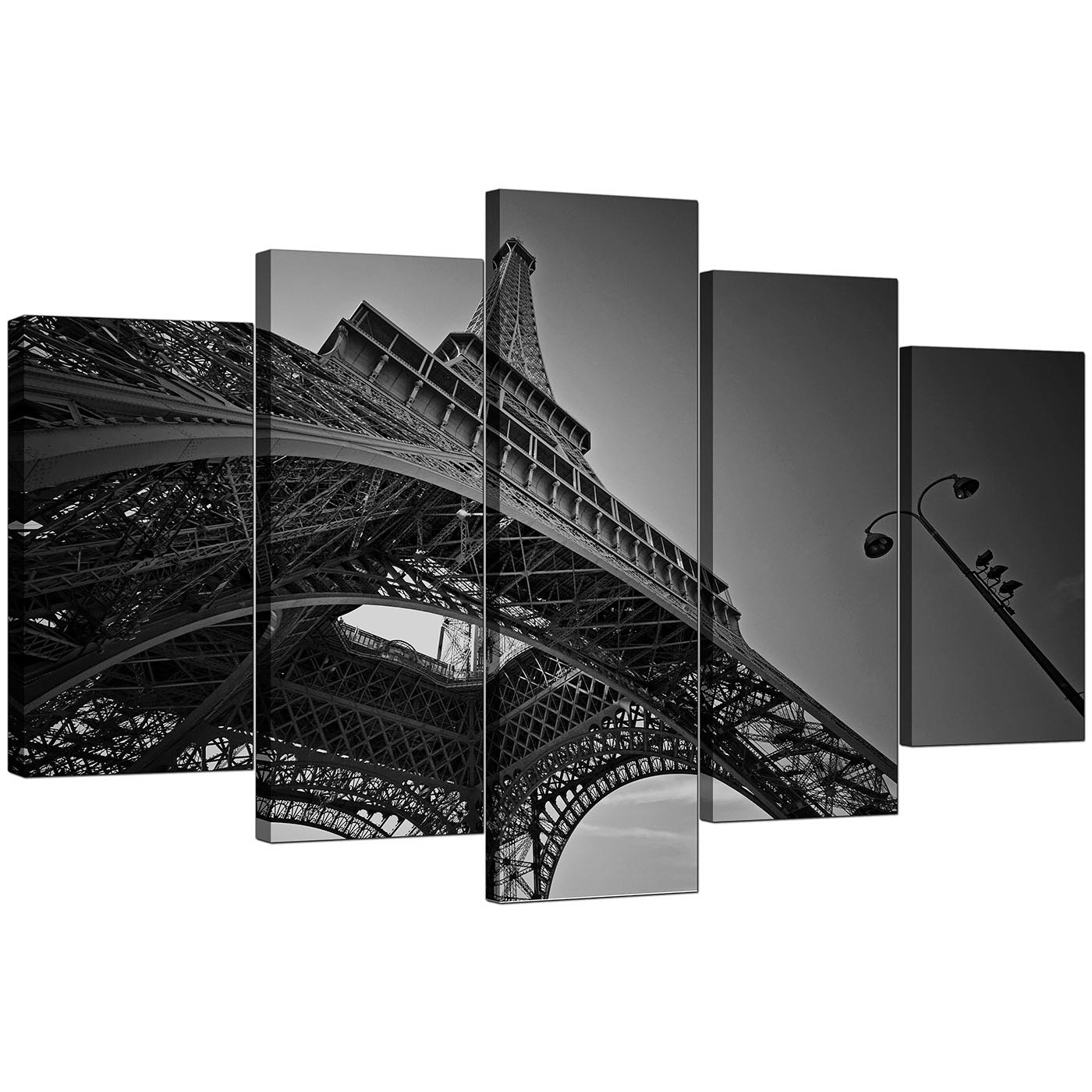 Extra Large Eiffel Tower Paris Canvas Art Set Of 5 In Black & White With Black And White Large Canvas Wall Art (Photo 5 of 20)