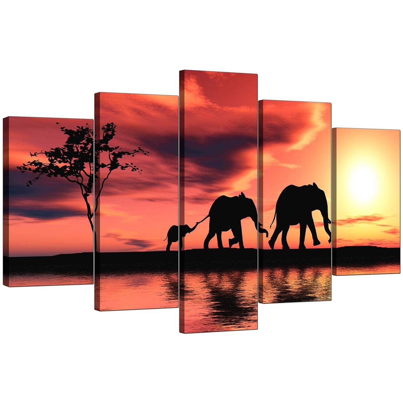 Extra Large Elephants Canvas Prints 5 Piece In Orange With Elephant Canvas Wall Art (Photo 5 of 20)