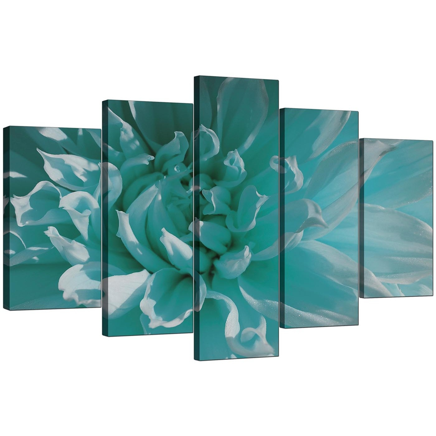 Extra Large Flower Canvas Wall Art 5 Piece In Teal in Teal Wall Art (Image 8 of 20)